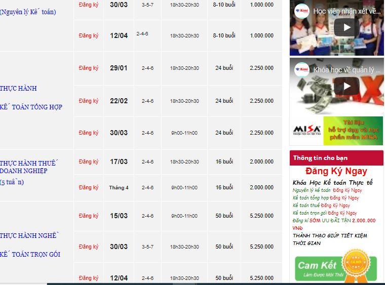 Bảng giá đào tạo tại kế toán Kimi Trung tâm đào tạo kế toán tông hợp thực hành uy tín tại Hồ Chí Minh